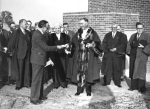 Arthur Harrison, Mayor of Bridgnorth 1945-46, receiving the key to the first council house on Syndey Cottage Drive