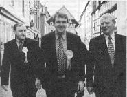David Walker campaigning with Matthew Green and Paddy Ashdown in Bridgnorth for the 2001 General Election and Local Elections. David and Matthew both won that year