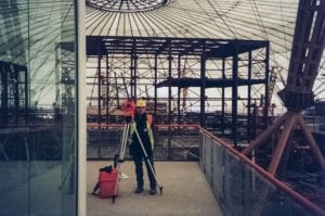 David Walker surveying during construction of the Millennium Dome (now the O2)