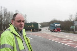David Walker at looking at the traffic at Queens Head Junction