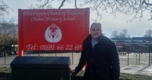 David Walker, a former School Governor, outside Whittington School