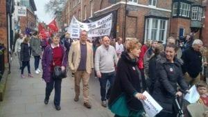 David Walker & local Lib Dems Marching in Shrewsbury against Shropshire School Cuts