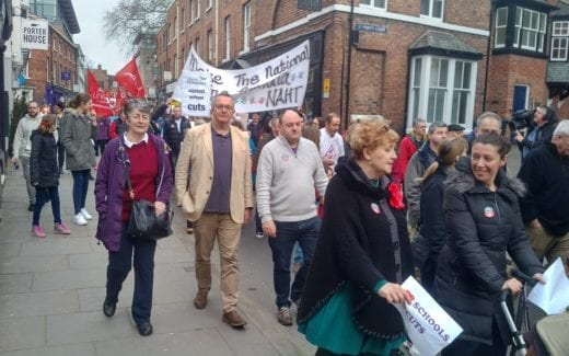 David Walker & local Lib Dems Marching in Shrewsbury against Shropshire School Cuts