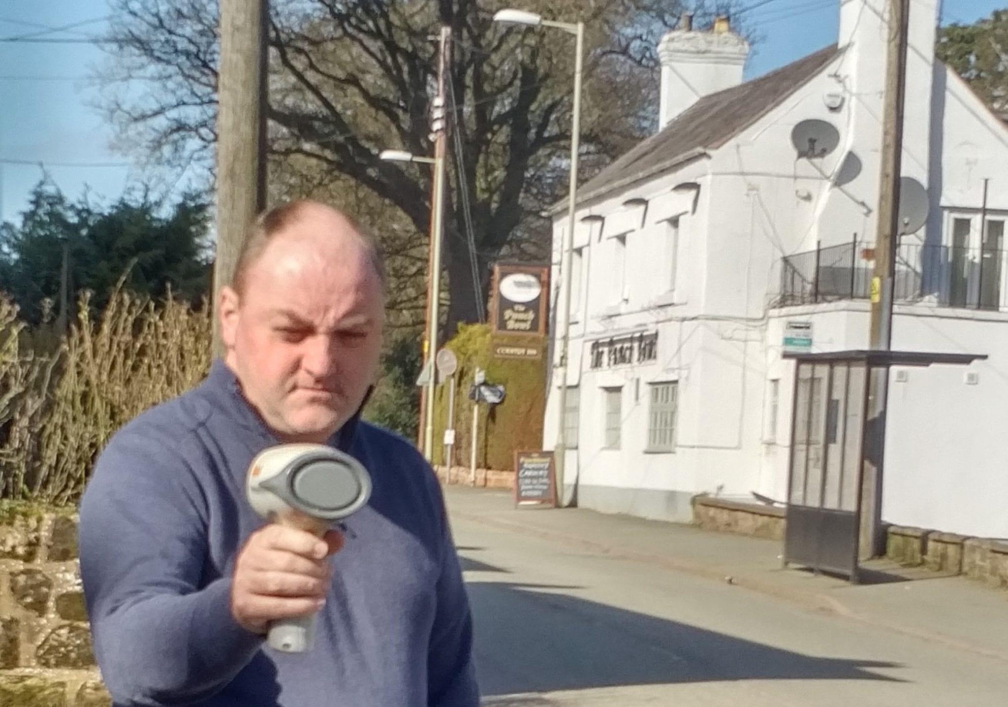 David Walker measuring traffic speed in Whittington and West Felton