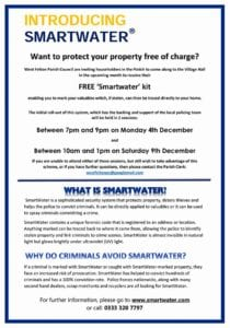 Introducing Smartwater and parish notice inviting residents to claim their free kit