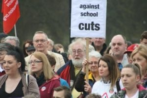 David Walker campaigning against school cuts