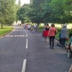 Parents and Supporters on MLU protest march on the same stretch with no footpath illustrate the problem for pedestrians