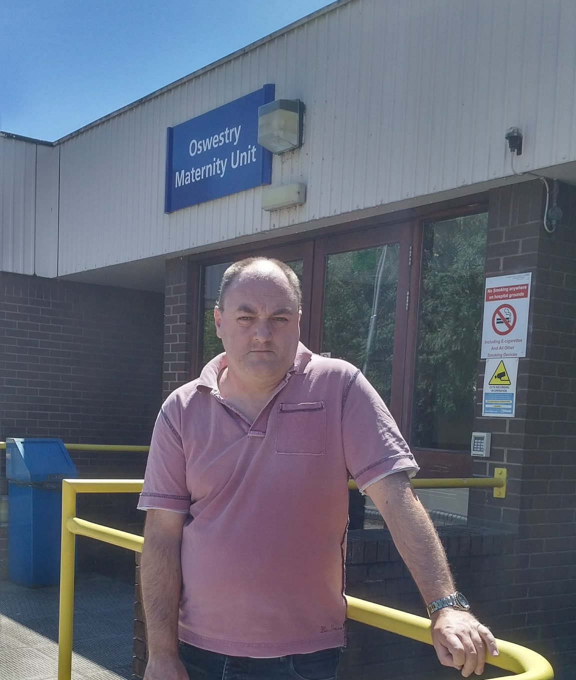 David Walker outside Oswetry Maternity Unit