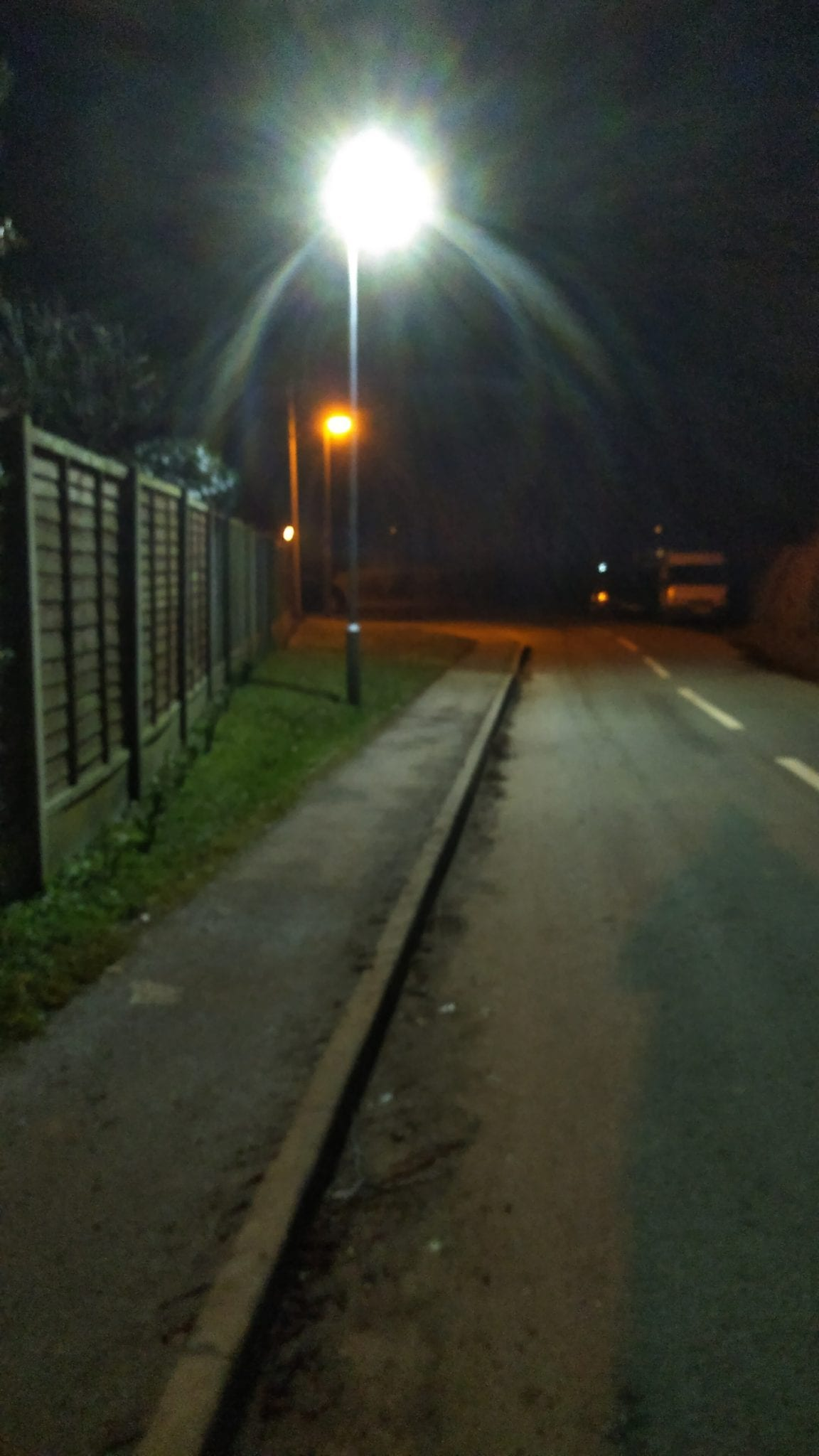 West Felton LED street light with an old Sodium light behind