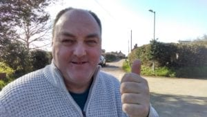 David Walker giving the thumbs up to the new LED street lights