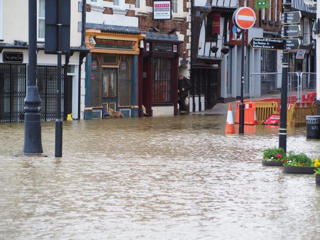 Flooding in Shrewsbury in February