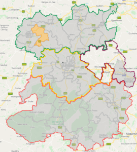 Shropshire Council map - Whittington Division highlighted in orange. Also shows the constituency boundaries