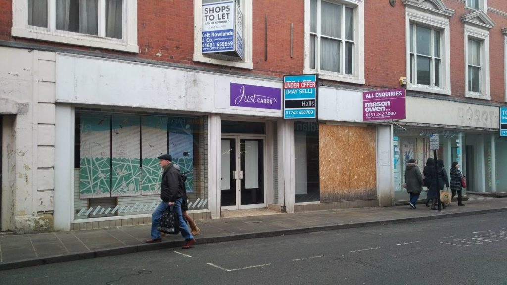 Do we want to see empty shops again & dead town centres? Closed shops in Oswestry in 2017