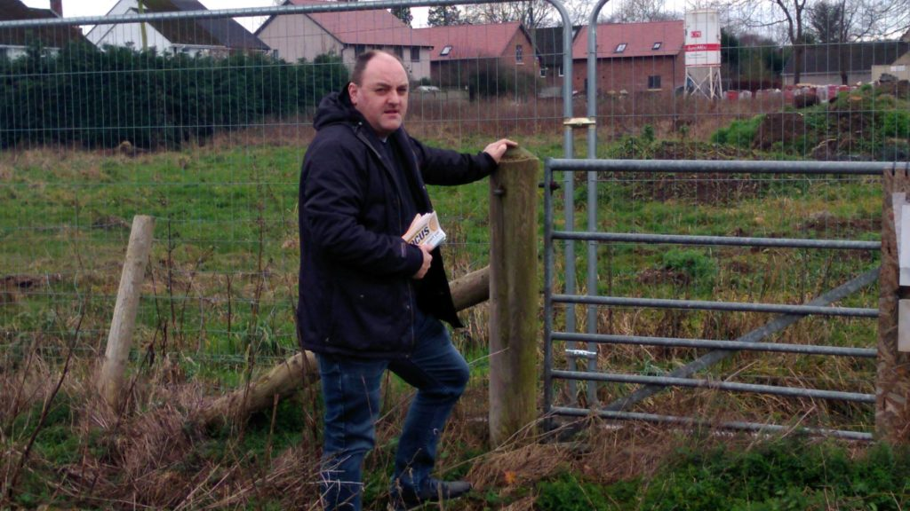David Walker examining Park Hall Development while out delivering a Focus in 2018. Shropshire Council Local Plan was indicating more houses in Park Hall