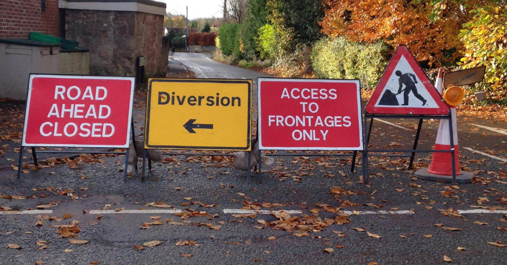 roadworks and road closure notices impacting West Felton & Whittington
