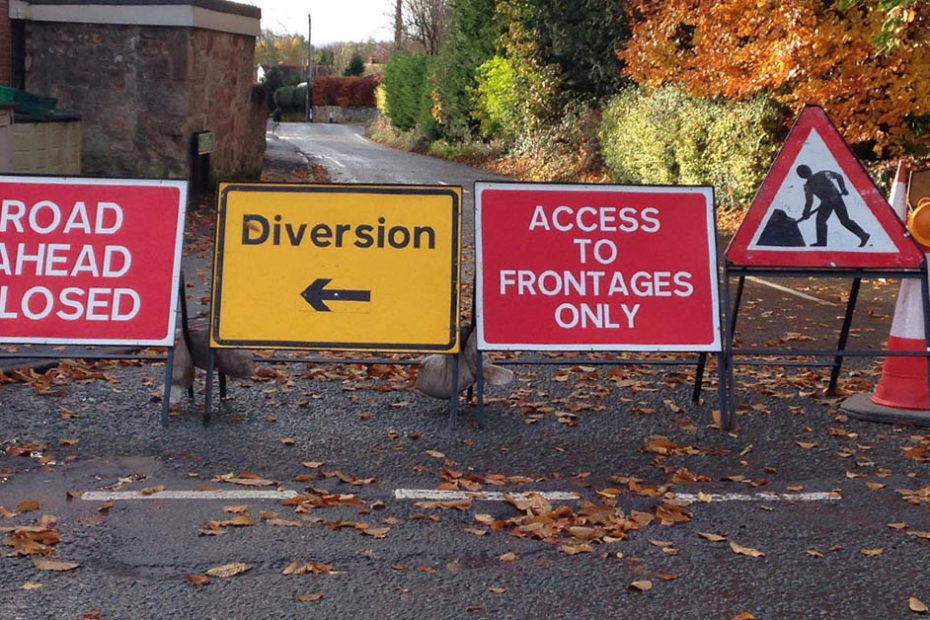 road works and road closure notices impacting West Felton & Whittington
