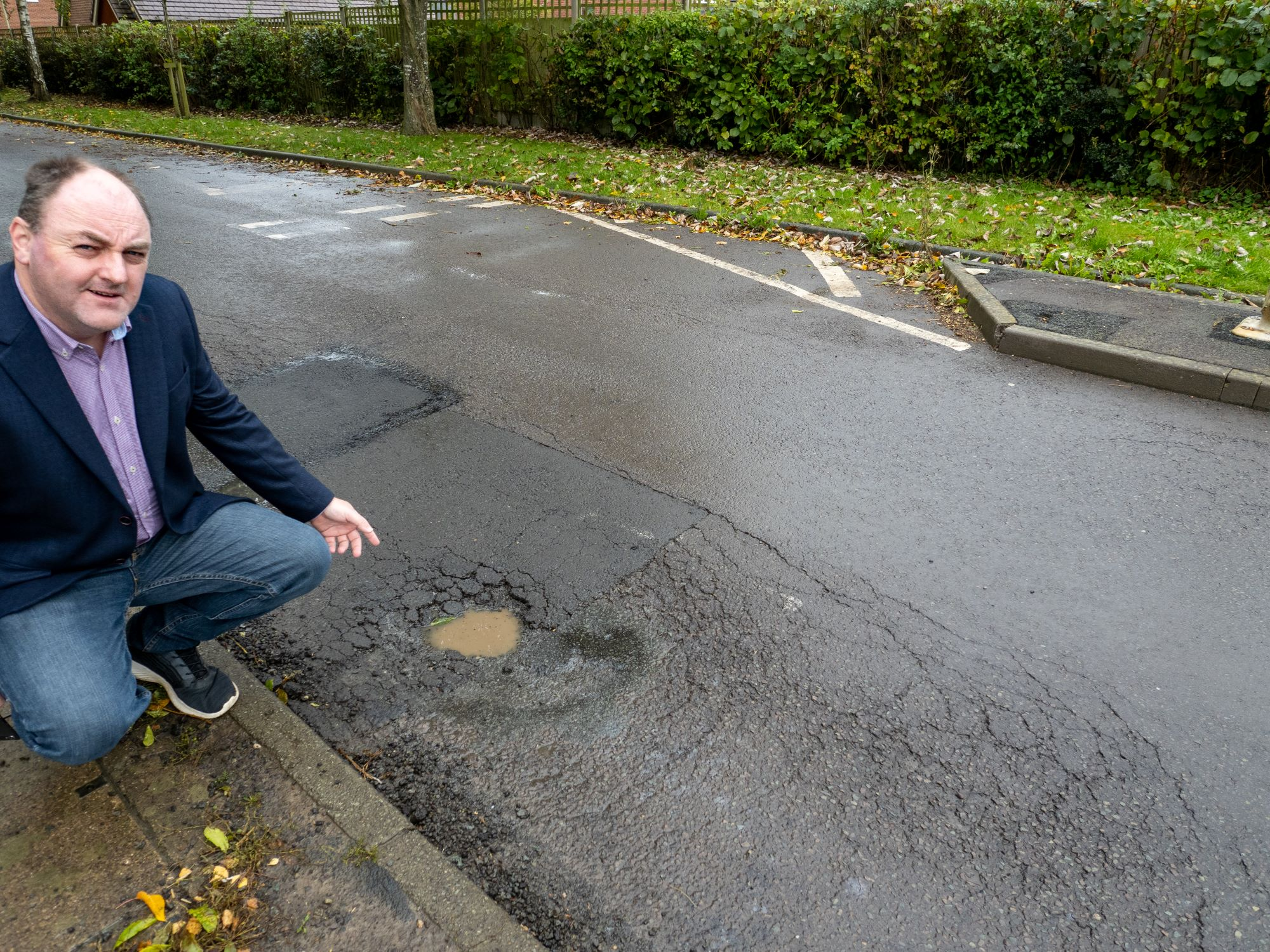 "David Walker at Drenewydd, Park Hall: ""Yet again pothole repair fails as underlying structural failure hasn't been addressed. I am livid. This is incredibly wasteful"""