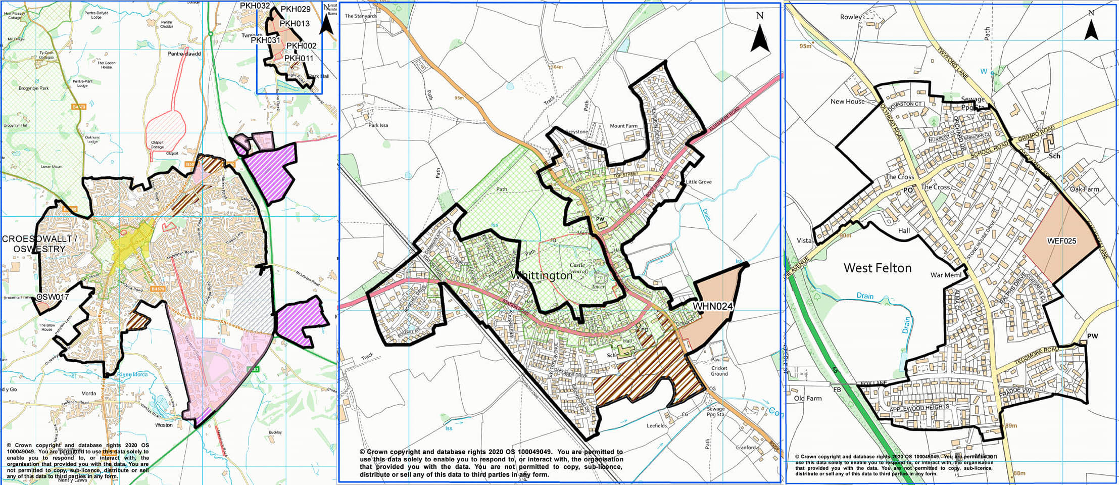 Sites proposed in Whittington, PArk Hall and West Felton in the local plan
