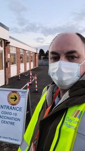 David Walker during his shift on opening day at new vaccination centre in Oswestry