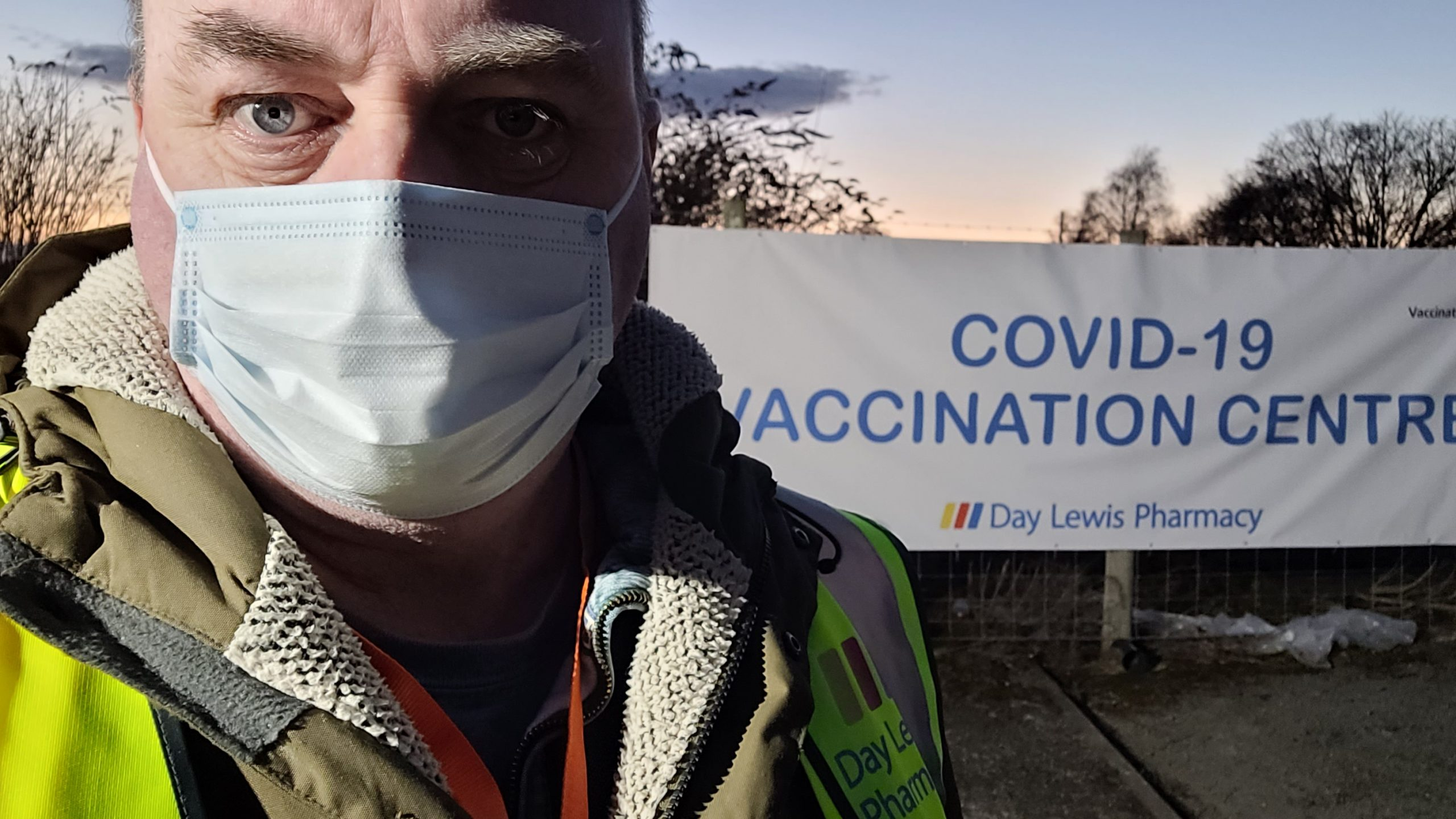 David Walker finishing his shift as darkness fell on opening day at new vaccination centre in Oswestry
